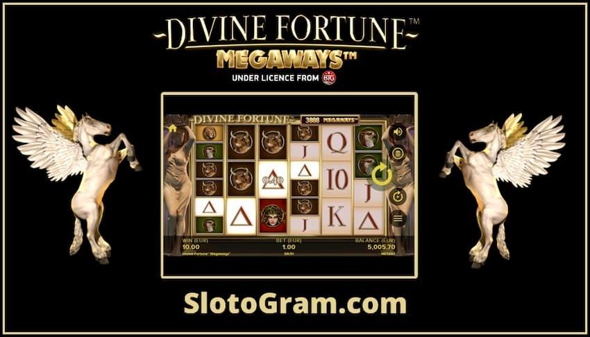 Обзор слота Divine Fortune Megaways есть на фото.
