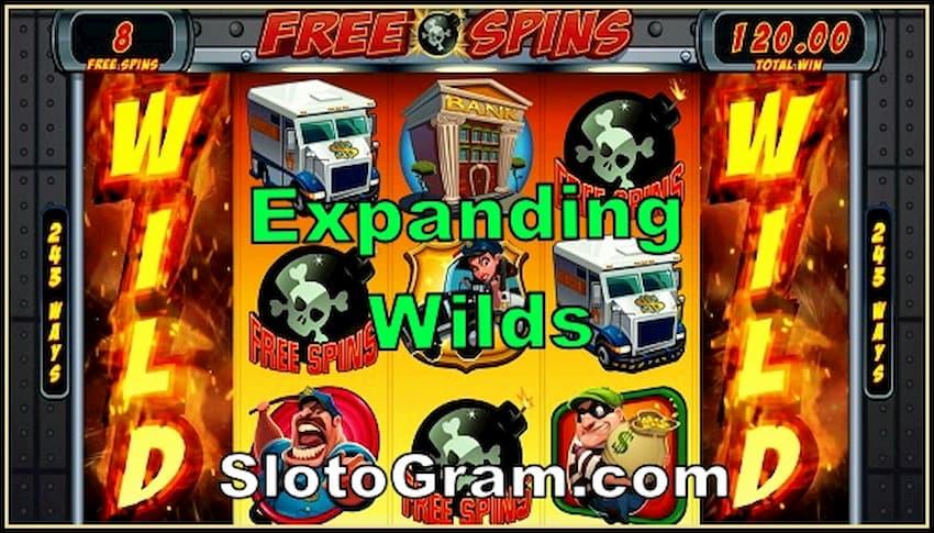 Extanding Wilds в слотах онлайн казино есть на фото.